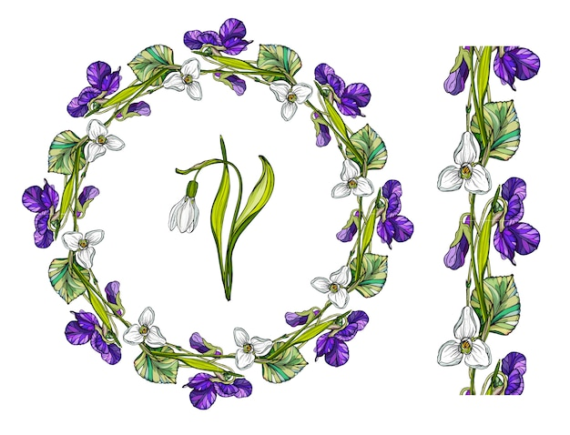 Flower wreath with spring flowers.