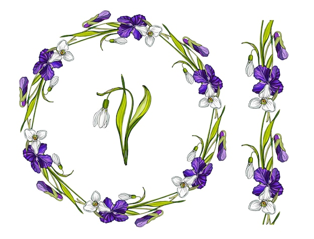 Flower wreath with spring flowers