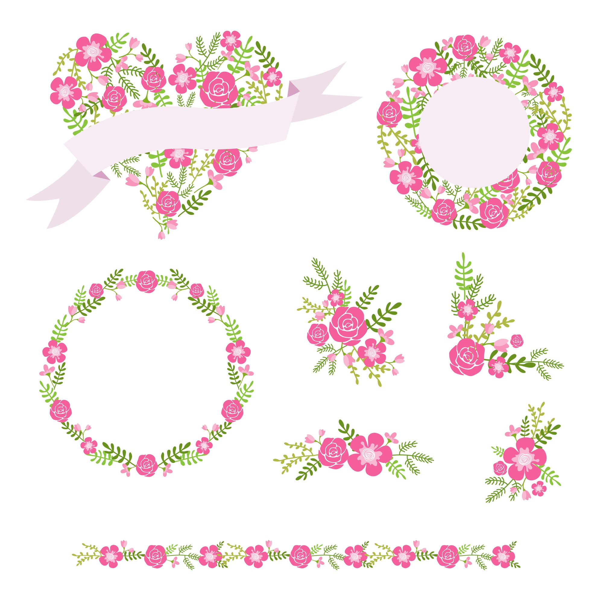 Flower wreaths and bouquets