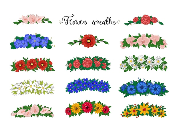 Flower wreaths collection isolated on white