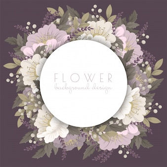 Flower wreaths drawing  pink floral card