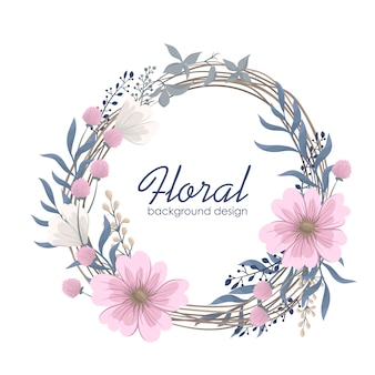 Flower wreaths drawing - pink flowers