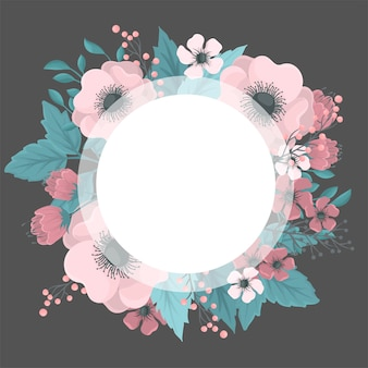 Flower wreaths drawing - pink round frame with flowers
