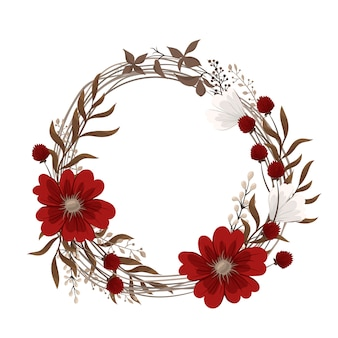 Flower wreaths drawing - red flowers