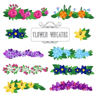 Flower wreaths set. beautiful floral decoration