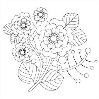塗り絵をリラックスした大人のための花flower羅。