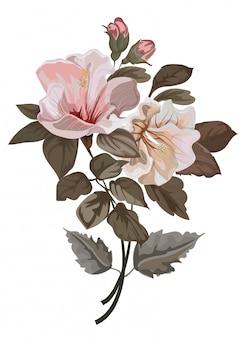 ハイビスカスの花のイラストとflowerfヴィンテージ