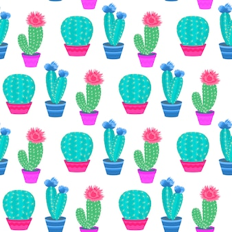 Flowering cacti in pots. home plants. cactus seamless pattern.