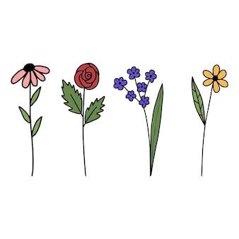 手描きの開花漫画の植物。デザイン要素のセット。