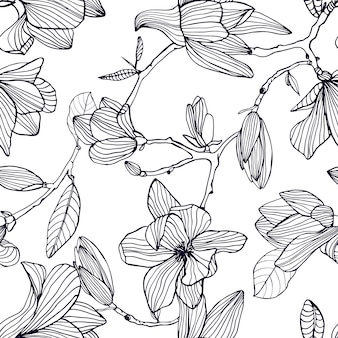 Flowering magnolia. hand drawn black and white seamless pattern with blooming flowers.  wallpaper.