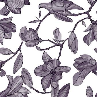 開花マグノリア。手描きの花が咲くと白黒のシームレスなパターン。壁紙。