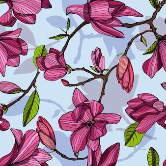 モクレンの開花、ピンク色。手描きの花が咲くとカラフルなシームレスパターン。壁紙。