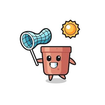 Flowerpot mascot illustration is catching butterfly , cute style design for t shirt, sticker, logo element