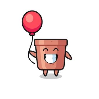 Flowerpot mascot illustration is playing balloon , cute style design for t shirt, sticker, logo element