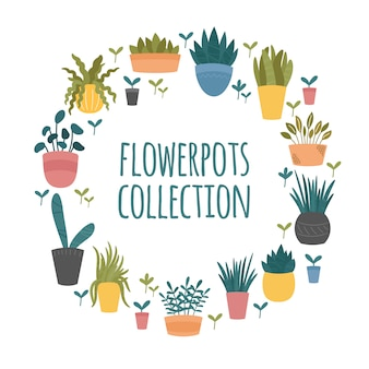 Flowerpots collection. set of indoor and outdoor decorative garden potted plants. hand drawn cartoon, scandinavian hygge style.  round template border on white background