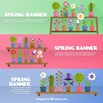 Flowerpots spring banners Free Vector