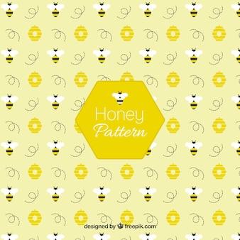 Пчела с flowerrs рисунком в плоской конструкции