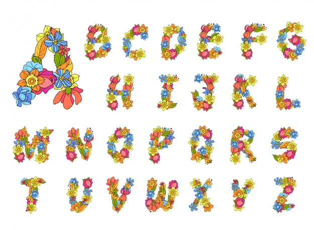 Flowers alphabet colored