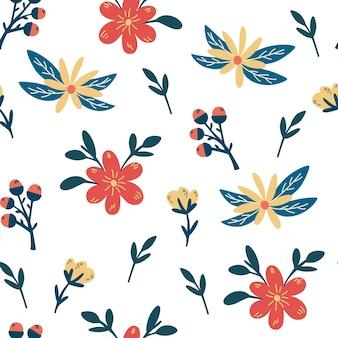 꽃과 열매 원활한 패턴 크리 에이 티브 꽃 질감 패브릭 섬유에 대 한 피 그레이트