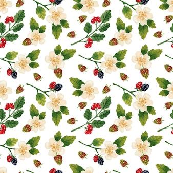 花とベリーのシームレスなパターンの白い背景の水彩画