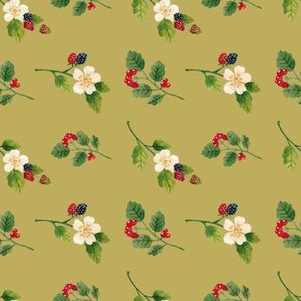 花とベリーのシームレスなパターンの水彩画