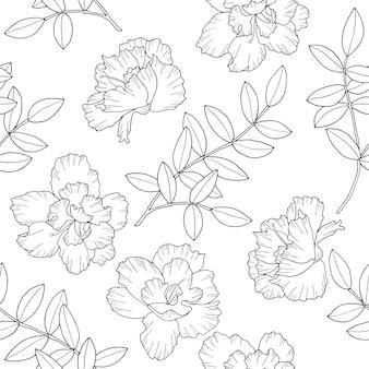 꽃과 잎 완벽 한 패턴으로 분기합니다. 손으로 그린 라인 아트 스타일 벽지.