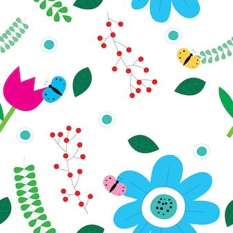 庭の花と蝶