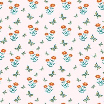 Бесшовный узор из цветов и бабочек. векторная печать в плоском стиле.