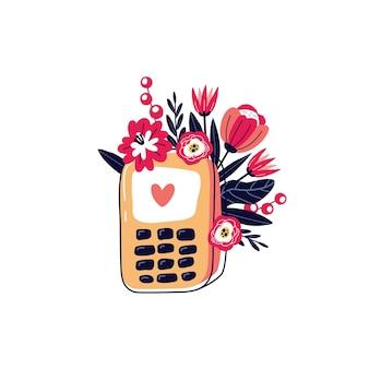 花と携帯電話。花の携帯電話。幸せなバレンタインデー