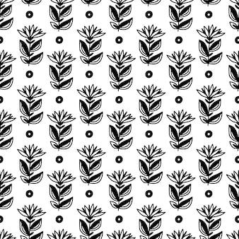花とドットのパターン。手描きの最小限の花のシームレスな背景。