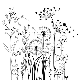 Flowers and Grass on White Collection