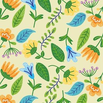 花と葉のパターン装飾