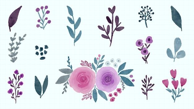 花と葉のコレクション手描き水彩