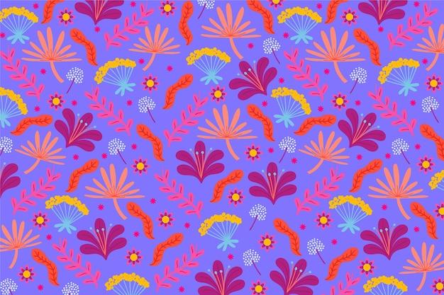 花と葉のカラフルな頭が変な印刷の背景