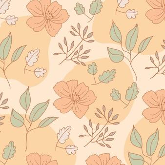 꽃과 나뭇잎 패턴 배경입니다. 빈티지 스타일.