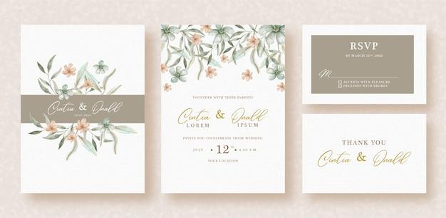 結婚式の招待状のテンプレートに花と葉の水彩画
