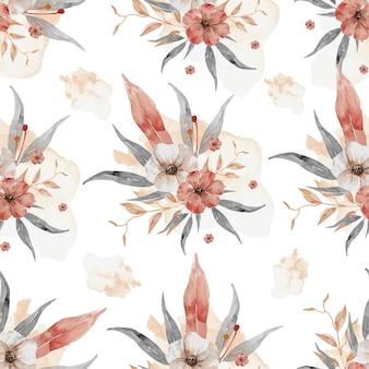Цветы и листья акварельный узор