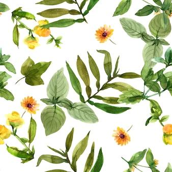 꽃과 잎 수채화 패턴