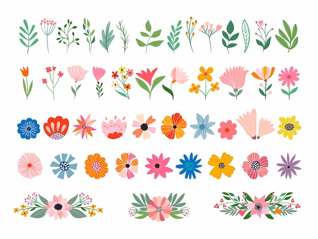Коллекция цветов и растений с различными элементами, изолированные на белом