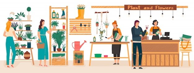 Интерьер магазина флористов с цветами и растениями при флористы заботятся о комнатных растениях, женщина покупает цветы карикатура иллюстрации.