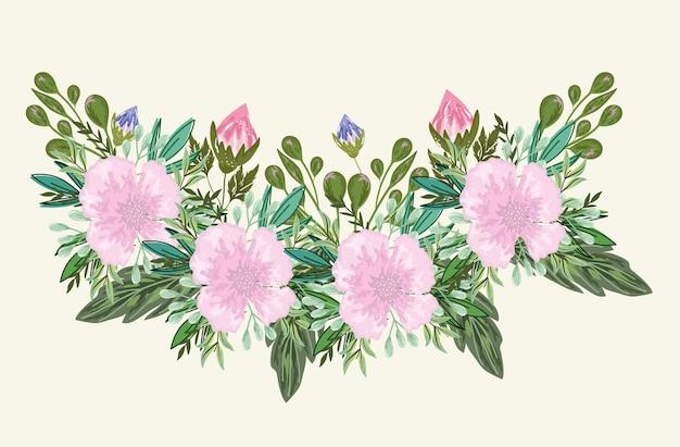 Цветы и ростки листья листва букет иллюстрации живопись