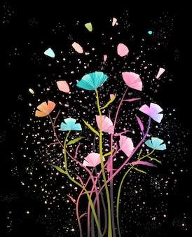花びらの背景を持つフラワーアレンジメント