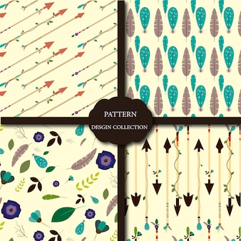 Flowers and arrows pattern background collecti