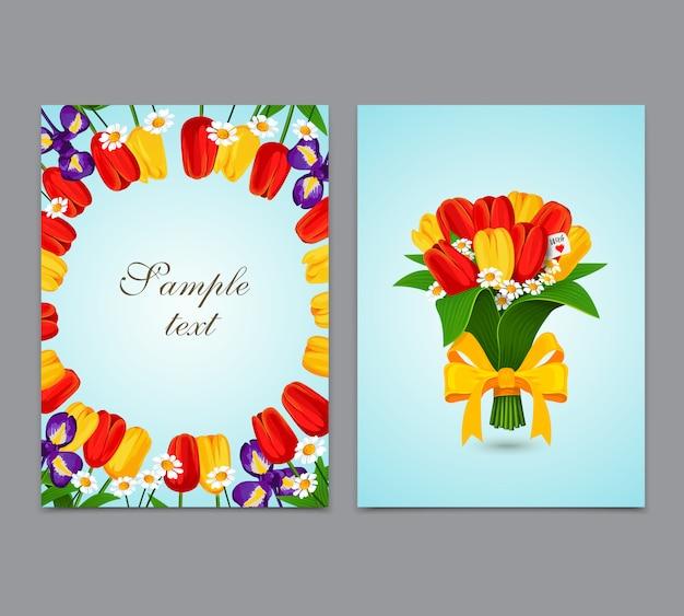 꽃 배경, 꽃다발 튤립. 전단지, 브로셔 템플릿 디자인