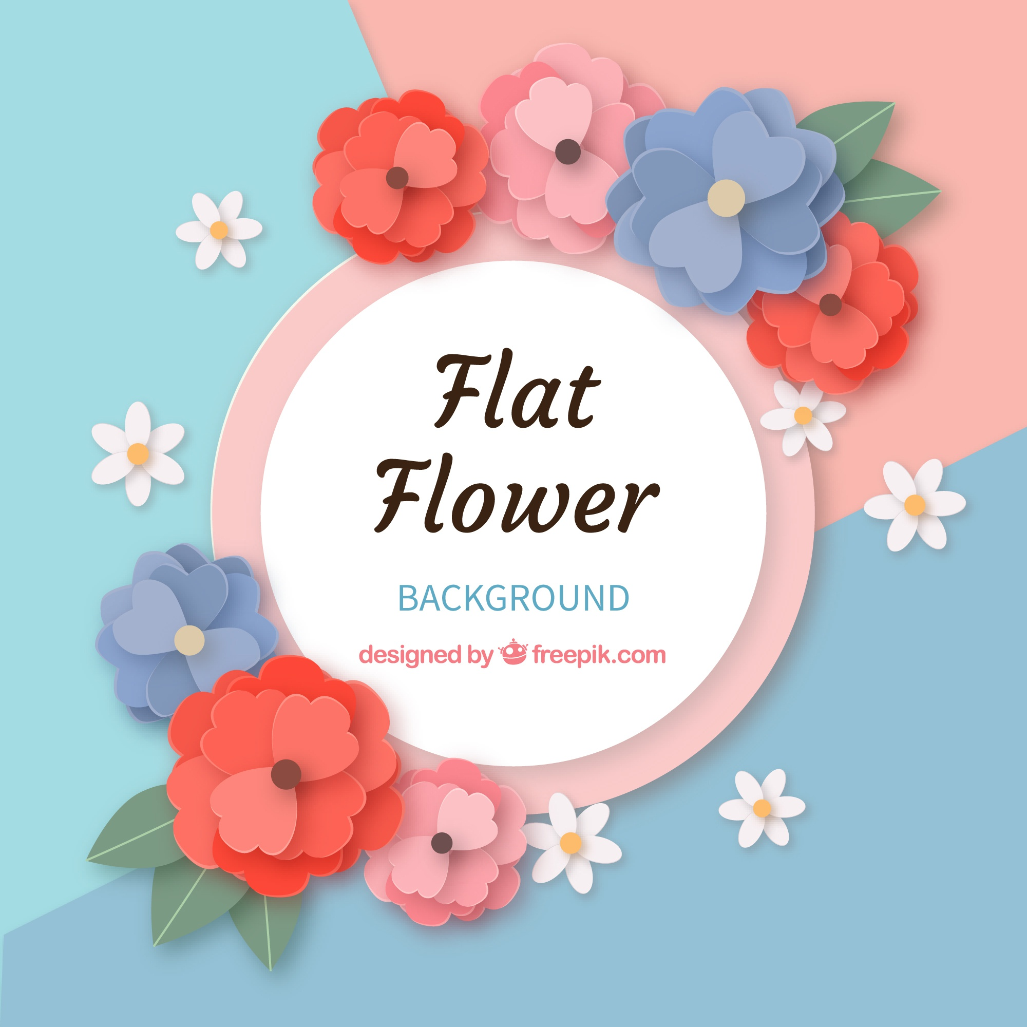 Flowers background in flat style