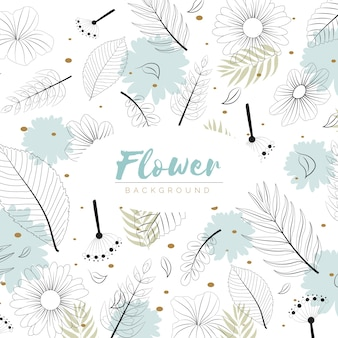 Flowers background in hand drawn style