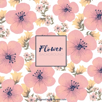 Flowers background in watercolor style