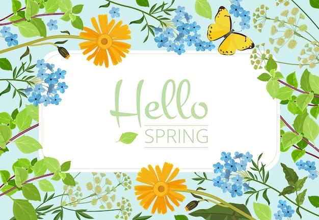 꽃 배경입니다. 야생 식물과 허브 컬렉션 아름다운 꽃 정원 템플릿입니다.