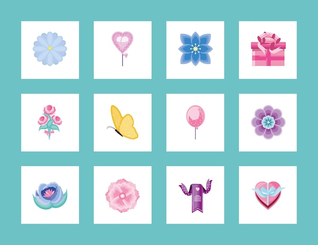 꽃 풍선 리본 나비 장식