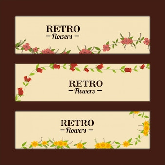Flowers banner template set